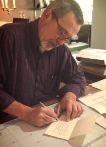 Ken writing Client Card