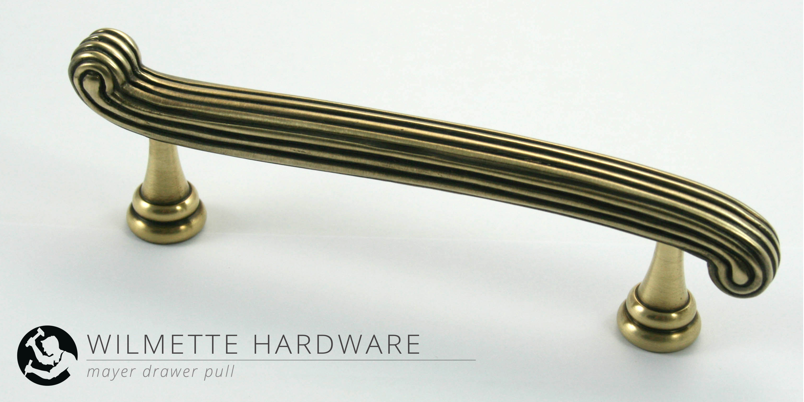 new reeded drawer pull | burnished light antique brass